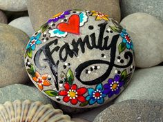 We are family / painted rocks / painted stones/ family / love / home sweet home / sandi pike foundas by lovefromcapecod on etsy Pebble Painting, Dot Painting, Pebble Art, Stone Painting, Painted Rocks Craft, Hand Painted Rocks, Painted Stones, Stone Crafts, Rock Crafts