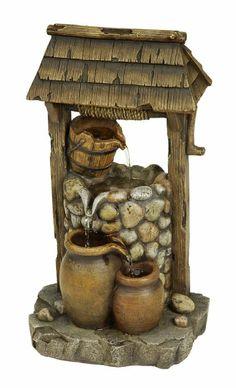 Amazon.com: ASTONICA Wishing Well Table Top Resin Fountain: Patio, Lawn & Garden