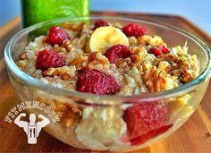 Anabolic Muscle Bowl (egg whites, granola, banana, raspberries, cinnamon, stevia or honey)