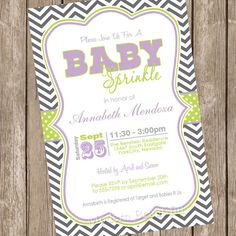 Sprinkle Baby Shower Invitation Purple and Green Chevron Printable Personalized - maybe we could get it in grey and mint or other color Diaper Invitations, Baby Sprinkle Invitations, Printable Invitations, Baby Shower Invitations, Invitation Ideas, Baby Shower Purple, Butterfly Baby Shower, Baby Shower Invites For Girl, Girl Shower