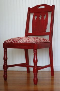 Refinished Red Paisley Painted Chair in Annie by ReCreationStudio, $125.00
