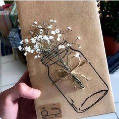 Kraft paper wrap, mason jar stamp or sketch