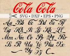 COLA Calligraphy Script Monogram SVG. Coca Cola Inspired SVG MONOGRAM FONT, Cola letters clipart, 54 files SVG file set. Swash letters, fancy