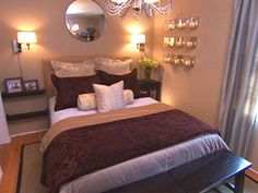 Romantic Bedroom...nice layout idea for a smaller room or long room