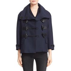 Women's Burberry Brit 'Craysmoore' Toggle Closure Short Gabardine... ($800) ❤ liked on Polyvore featuring outerwear, coats, ink blue, toggle button coat, short pea coat, blue double breasted coat, pea coat and toggle peacoat