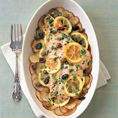 Wild Salmon and Potato Casserole with Citrus-Herb Vinaigrette 	    This pretty casserole is bright with citrus flavors and assembles quickly once the potatoes and lemons are sliced. Fresh basil, added right before serving, enlivens the flavor of the salmon.