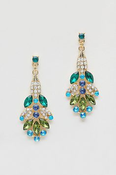 Magnolia Chandelier Earrings in Verdant Crystal - blues, greens, and sparkle!