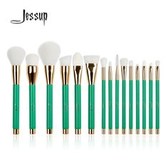 New Jessup 15Pcs Pro Make up Brushes Set Foundation Blusher Powder Eyeshadow Blending Eyebrow Makeup Brushes Green/White