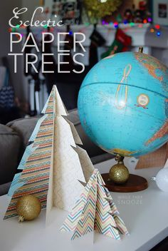Super simple Christmas craft: Paper Trees