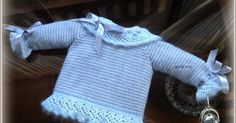En lana, perlé y angora para bebé: Tutorial chaquetita rayada gris y blanca, meses Crochet For Boys, Knitting For Kids, Baby Knitting Patterns, Baby Patterns, Crochet Baby, Knit Crochet, Baby Pullover, Baby Cardigan, Knit Art