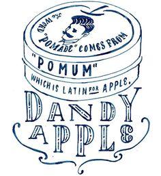 """HARD CIDREのキャンペーンサイト """"CIDRE WALL""""のイラスト デザイン解説その6  Dandy Apple  ポマードが昔リンゴ使ってたなんて…!とこの仕事で初めて知りました。それはもうかっこいいのに仕上げる他ないでしょう。リンゴをかっこよくあしらうのに苦労しました。  #chalkboy #handwritten #graphic #オトナのリンゴ"""