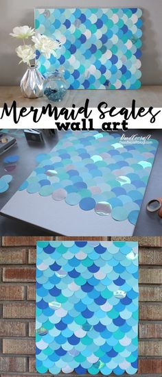 Cute mermaid party decoration! // DIY: Mermaid Fish Scales Wall Art Backdrop!