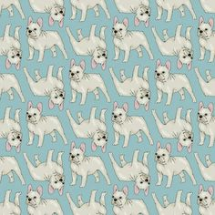 French Bulldog Pattern (Green) Art Print