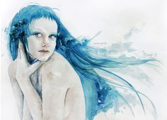 hljomalind - Watercolor painting by Italian artist Silvia Pelissero also known as Agnes Cecile.