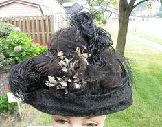 VICTORIAN EDWARDIAN HAT, HORSEHAIR, WIRE FRAME, FLOWERS LACE & OSTRICH FEATHERS #ANTIQUEDRESSHAT