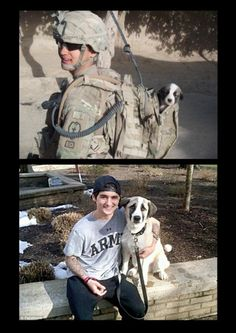 puppy found in combat, then and now. I love this. They really needed each other....everything does happen for a reason.