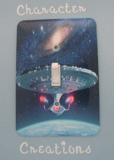 """STAR TREK STARSHIP ENTERPRISE Standard Metal Light switch Cover (Switch plate Switchplate) by Character Creations. $12.00. NOT a Sticker.  Image is heat sealed into the switchplate, therefore is completely washable.. Star Trek Enterprise Design. Standard Size Lightswitch Cover (3 1/2"""" x 5""""). High Quality Steel Switchplate with Beautiful Satin Finish. Beautifully finishes off any room. This is a fantastic addition to any bedroom, recroom or office and is made from ..."""