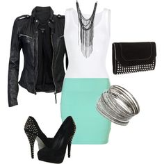 """""""black, studs, turquoise"""" by slr61386 on Polyvore"""