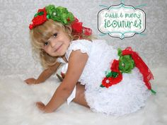 PEPPERMINT Petti Lace Romper Dress Green Red by CuddleBunnyCouture, $39.99