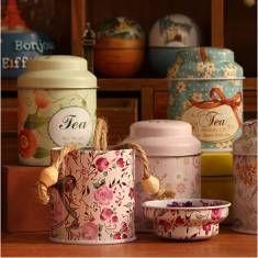 Boîte de rangement mini-thé et café d'étain style pastoral petite fleur