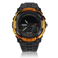 Luxury Brand Solar Energy LED Digital Men Sport Silicone Watch Outdoor Military Double Display Outdoor Watch
