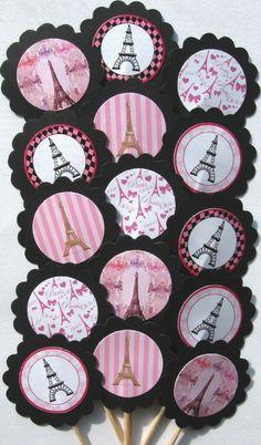 Eiffel Tower Paris Cupcake Toppers/Party Picks  (15Pc Set)  Item #206