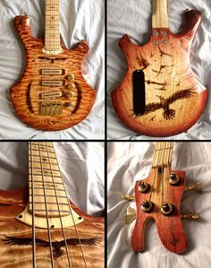 I'm the gal who woodburned that telecaster guitar body. Since you guys liked it, here's an electric bass my friend made and I woodburned. - Imgur