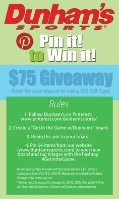 Pin It to Win it! $75 gift card. Now thru 4/30/15