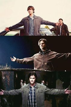 """Sam Winchester's """"Bring it on"""" pose. Honestly, he's 6'4"""". Would you want to fight a 6'4"""" dude who looks like he has nothing to lose? Yea, nope."""