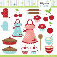 Baking Cherry Pie - Tiffany Blue and Red - Clipart Set - Digital Elements Commercial use for Cards, Stationery and Paper Crafts and Products...