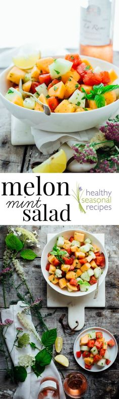 The Melon and Mint Salad recipe I have for you today is utterly delicious in its simplicity. It takes just 10 minutes, has only 4 ingredients and is naturally gluten free and dairy free!