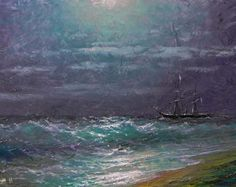Original 11x 14 oil on canvas framed painting Stormy Ocean painted in 2012. This is gallery wrap canvas in stylish cherry contemporary frame(see picture) and its ready to hang (picture wire attached). Frame outside dimensions 19 3/4 x 16 5/8 inch. The painting is titled, dated and signed on the back by the artist(me). Estimated gallery value $2800.00. The painting represents inspirational and dreaming view of stormy sea. I use artist oils and brush to create this unique painting. The…