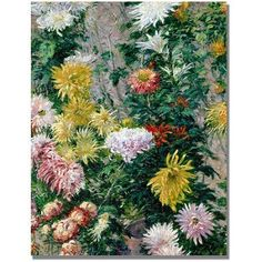 Trademark Fine Art White And Yellow Chrysanthemums Canvas Wall Art by Gustave Cailebotte, Size: 18 x 24, Multicolor