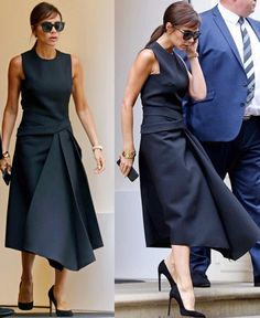New hair, do care: Victoria Beckham debuted a chic new side fringe as she flashed her slim legs in a thigh Classy Dress, Classy Outfits, Chic Outfits, Look Fashion, Womens Fashion, Fashion Design, Victoria Beckham Style, Event Dresses, Linen Dresses