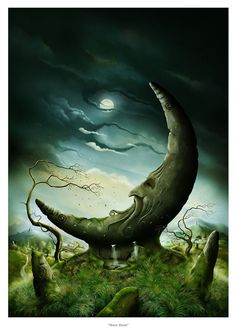 Art Print Moon Standing Stone in Celtic Landscape print by John Emanuel Shannon is part of Moon art - Moon Stone Museum quality print produced using UltraChrome Archival Pigment Inks and printed on Archival Matte Paper Sun Moon Stars, Sun And Stars, Fantasy Kunst, Fantasy Art, Photo D Art, Moon Magic, Moon Art, Surreal Art, Fantasy World