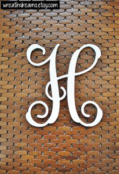 Letter H 12-24 Inch Wood Script Monogram. Wood by WreathDreams
