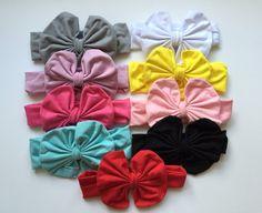 Messy Bow Cotton Headbands Toddler Headbands by KristysLilBowtique