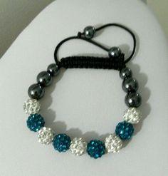 Crystal Blue/White & Plain Black Hematite Balls Shamballa Adjustable Bracelet   #Unbranded #Shamballa