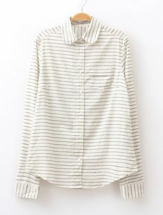Tiny stripes don't overpower the crisp white of this fantastic button-up blouse