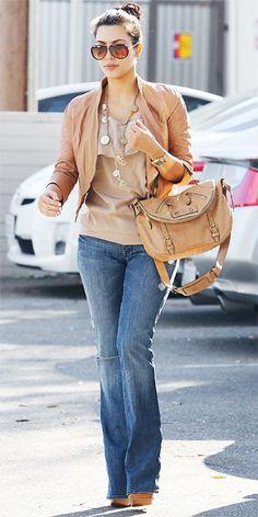 Kim Kardashian 2011 Looks - flared jeans and a tan leather jacket Looks Kim Kardashian, Kardashian Style, Kardashian Fashion, Kardashian Jenner, Kim K Style, Style Me, Look Fashion, Fashion Outfits, Womens Fashion