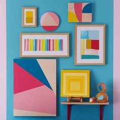 Color blocking is a hot fashion trend that is being picked up in the home decor world, too: http://www.bhg.com/decorating/do-it-yourself/wall-art/wall-art-projects/?socsrc=bhgpin083114colorfulcollage&page=3