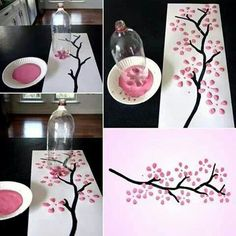 Pop bottle painting-- I think I'm gonna do this for my rememberance day poster, except ill use red paint for the leafs to make a bunch of poppys!