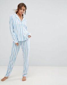 ASOS Wide Chambray Stripe Shirt and Pant Pajama Set
