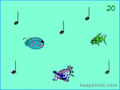http://www.happynote.com/en/free/click-music-notes.html Click Music Notes HN - A learning mouse game with music notes. Kids must click on a note and turn it into animal. The speed of moving music notes can be set from 0 (immobile) to 100 (unplayable, even for parents!). It is also possible to play with all notes or only some. Right click, double click, score and Hi-Score.