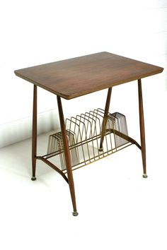 Vintage 60s Mid Century Danish Rockabilly Record Player Table Stand