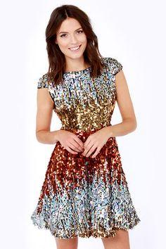 News Flash Red Multi Sequin Dress at LuLus.com! #lulus #holidaywear