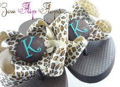 Custom Flip Flops Leopard Animal Print Flip Flops by BowFlipFlops, $26.50
