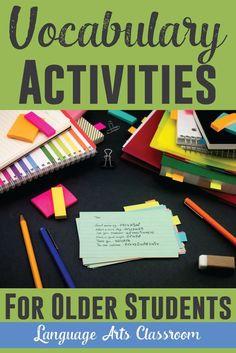 Activities for teaching vocabulary - while not boring students.  A veces aprender inglés puede ser aburrido, todo es mejor si aprender jugando, aquí algunos juegos para chicos de preparatoria. Play to learn.