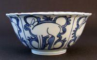 Ming blue and white bowl. Wanli period c.1575-1600. Kraakware.