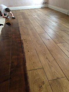 Here you can see us adding an oil tone to a wooden flooring. See the next image to see how it looks once we have finished polishing. Wooden Flooring, Hardwood Floors, Restoration, Oil, Image, House, Wood Flooring, Wood Floor Tiles, Parquetry